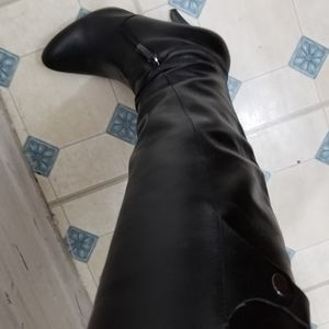 Black leather nine west high boots